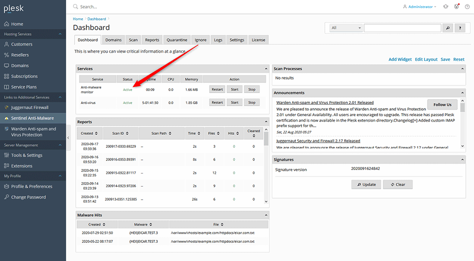 Anti-malware monitoring enabled